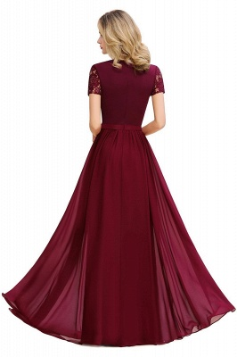Short Sleeves Floor Length Jewel Chiffon Bridesmaid Dresses | Burgundy Prom Dresses_2