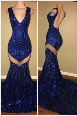 Black Sheer Sequins Prom Dresses V-Neck Backless Sexy Mermaid Evening Gowns_1