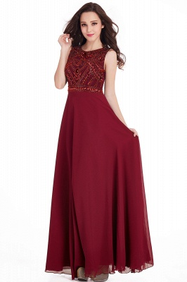 Sheath Jewel Crystals Floor Length Long Chiffon Cheap Prom Dresses_3