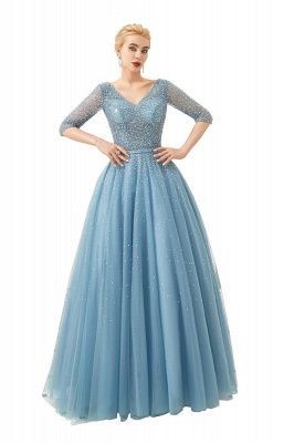 Gorgeous Half Sleeves V-neck A-line Floor Length Prom Dresses | Long Tulle Evening Dresses_1