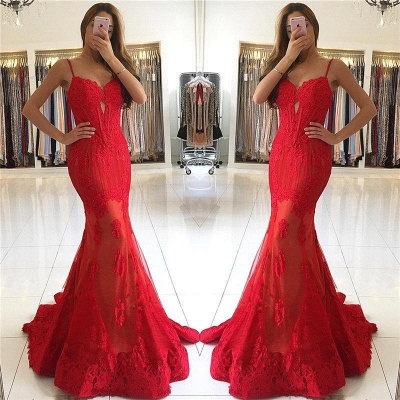 Gorgeous Spaghetti-Strap Mermaid Lace Red Evening Dress_3