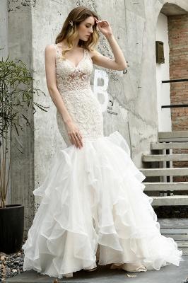 Wholesale Long Mermaid Lace Organza Wedding gowns Ruffles Train_1