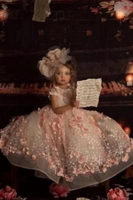 Jewel Short Sleeves Open Back Princess Flower Girl Dresses with Handmade Flowers_1
