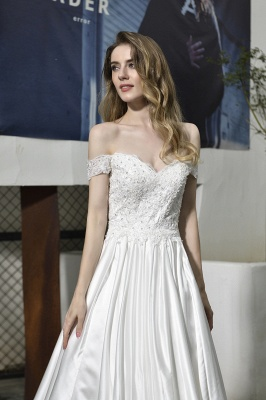Cheap A Line Off the Shoulder Lace Satin White Wedding Gowns_5