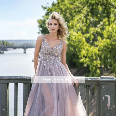 Sleeveless Deep-V-Neck Beading Brilliant Tulle Rhinestones A-Line Prom Dresses_3