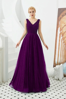Gorgeous Straps V-neck A-line Long Prom Dresses | Jade Floor Length Evening Dresses_2