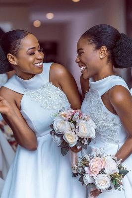 Tea Length A-line Sleeveless Elegant Bridesmaid Dresses | Affordable Maid of Honor Dresses_6