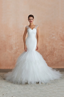 Floor Length V-neck Cap Sleeves Sexy Mermaid Wedding Dresses | Affordable Bridal Gown_6