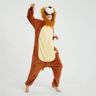 Cute Animal Pyjamas for Women Lion Onesies, Brown_12