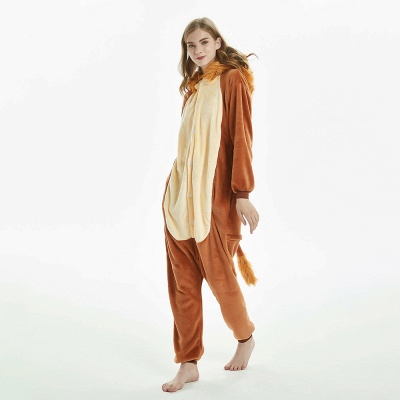Super Soft Adult Lion Brown Onesies Pajamas for Girls_8