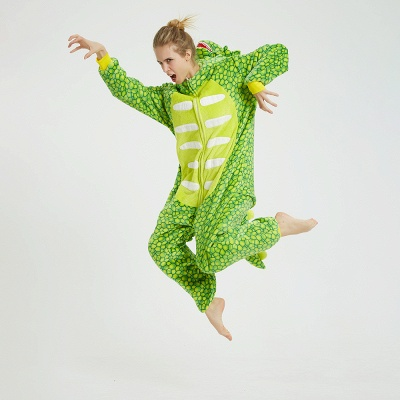 Cute Animal Pyjamas for Women Triceratops Onesie, Green_7