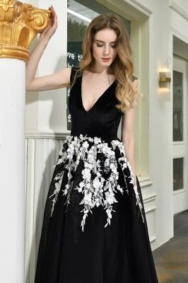 Black Straps Deep V neck A Line Prom Dresses | Applique Lace Corset Back Evening Dresses_11