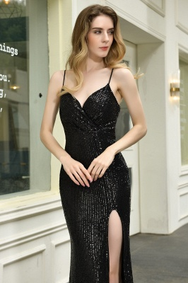 Black Spaghetti Strap V Neck Sequined Front Slit Floor Length Sheath Prom Dresses | Backless Evening Gown_18