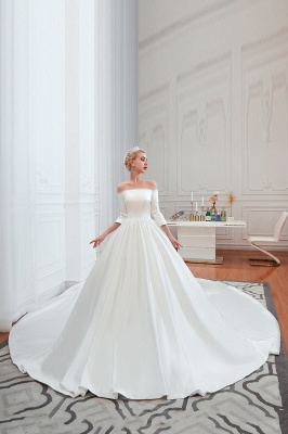 Gorgeous Off the Shoulder Half Sleeves Floor Length A-line Satin Wedding Dresses_3