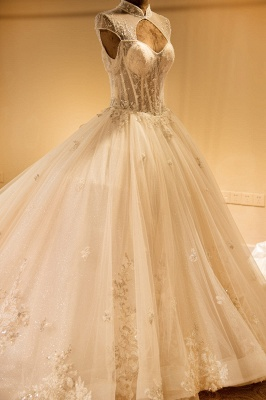 Glamorous High Neck Lace-up Tulle Wedding Dress | Haute Couture Bridal Gowns Series_6