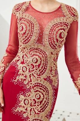 Gorgeous Form-fitting Long Sleeves Floor Length Prom Dresses | Long Beaded Evening Dresses_14