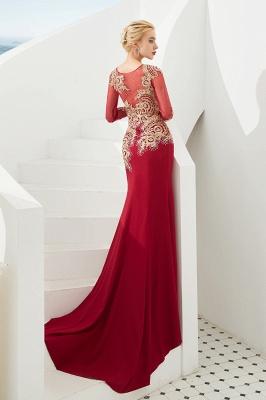 Gorgeous Form-fitting Long Sleeves Floor Length Prom Dresses   Long Beaded Evening Dresses_13