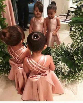 Elegant Jewel Floor Length Criss-Cross Straps Flower Girl Dresses with Bowknot_2