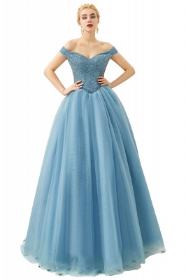 Off the Shoulder Sweetheart Jade A-line Long Prom Dresses | Elegant Evening Dresses Cheap_26