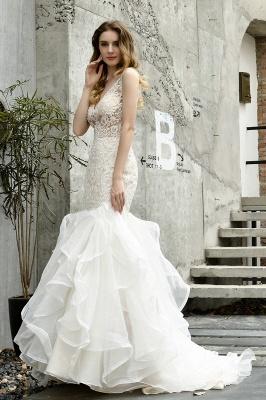 Wholesale Long Mermaid Lace Organza Wedding gowns Ruffles Train_7