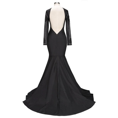 Long-Sleeves Backless Black Mermaid Appliques Sexy Prom Dress_5
