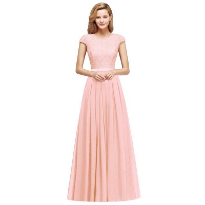 Cap Sleeves Floor Length Jewel Lace Chiffon Bridesmaid Dress | Cheap Prom Dresses_5