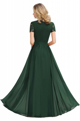 Short Sleeves Floor Length Jewel Chiffon Bridesmaid Dresses | Burgundy Prom Dresses_5