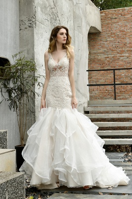 Tulle Lace Sleeveless Sexy Mermaid Wedding Dress_9