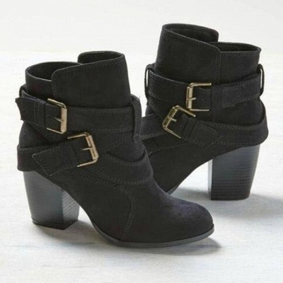 Casual Ladies Ankle Boots High Beeled Zippered_1