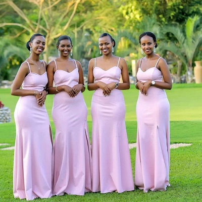 Spaghetti Straps Long Cheap Fitted Bridesmaid Dresses   Sexy Maid of Honor Dresses_3