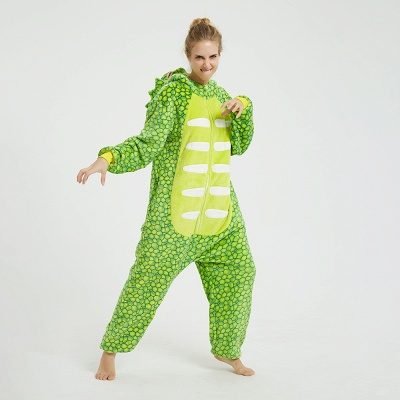 Cute Animal Pyjamas for Women Triceratops Onesie, Green_16