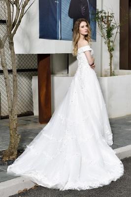Gorgeous A-Line Lace Off Shoulder Floow Length Wedding Dresses_3