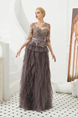 Elegant Jewel Half Sleeves Ribbon Belt A-line Lace Tulle Prom Dresses_4