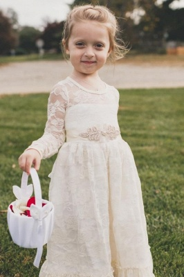 Lovely Jewel Long Beaded Lace Flower Girl Dresses with Long Sleeves_1