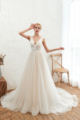 Gorgeous V-neck Straps A-line Floor Length Lace Tulle Wedding Dresses_3