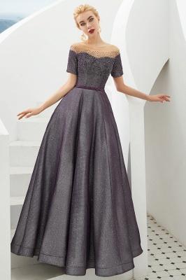 Glamorous Round Neckline Short Sleeves Beaded Belt A-line Floor Length Prom Dresses_6