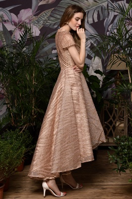 Champagne High Neck Short Sleeve Sequined A Line Prom Dress   Tea Length Ruffles Evening Gown_8