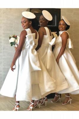 Tea Length A-line Sleeveless Elegant Bridesmaid Dresses | Affordable Maid of Honor Dresses_5