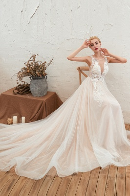 Round Neckline Sleeveless A-line Lace Up Sweep Train Lace Appliques Wedding Dresses_7