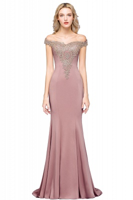Simple Off the Shoulder Appliques Fitted Floor Length Evening Gown_1