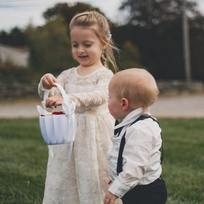 Lovely Jewel Long Beaded Lace Flower Girl Dresses with Long Sleeves_2