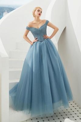 Off the Shoulder Sweetheart Jade A-line Long Prom Dresses | Elegant Evening Dresses_15
