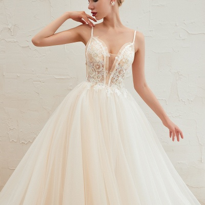 Gorgeous Spaghetti Straps V-neck Floor Length A-line Lace Tulle Wedding Dresses_22