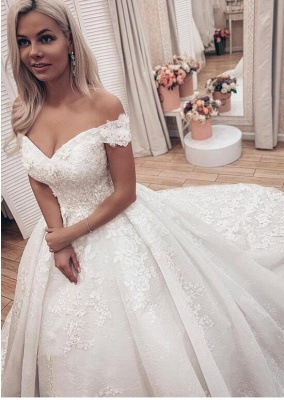 Off the Shoulder Lace Ball Gown Wedding Dresses with Lace-up Back_3
