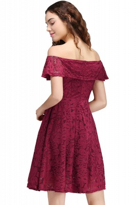 Cheap A-Line Off-the-shoulder Lace Burgundy Homecoming Dress in Stock_4