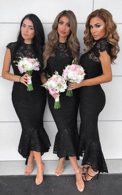 Cap Sleeves Jewel Tea Length Mermaid Lace Bridesmaid Dresses    Affordable Maid of Honor Dresses_3