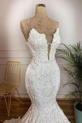 Straps V-neck Appliques Mermaid Lace Wedding Dresses   Trumpet Style Bridal Gowns_3