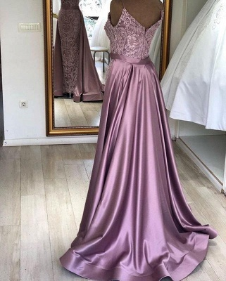 Gorgeous Sleeveless V-neck Appliques Belted Fitted Prom Dresses with Detachable Train_2