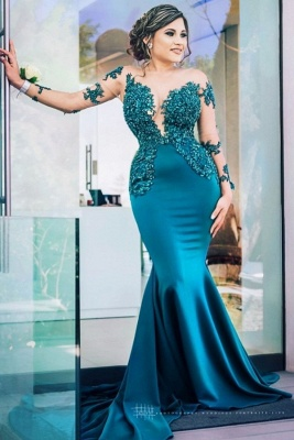 Gorgeous Sweep Train Bateau Applique Prom Dresses with Long Sleeves_1