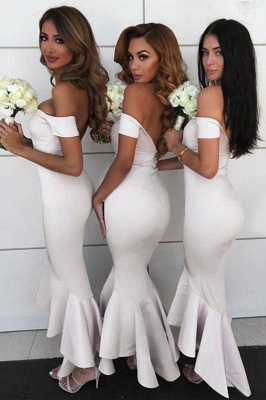 Tea Length Off the Shoulder Mermaid Bridesmaid Dresses | Affordable Maid of Honor Dresses_4